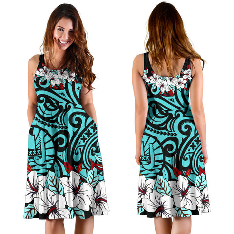Tahiti Midi Dress - Cyan Hibiscus - BN11
