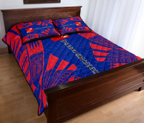 Wallis and Futuna Quilt Bed Set - Blue Tattoo Style - BN0112