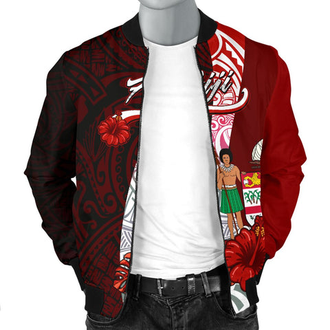 Image of Fiji Polynesian Men's Bomber Jacket - Coat Of Arm With Hibiscus - BN12