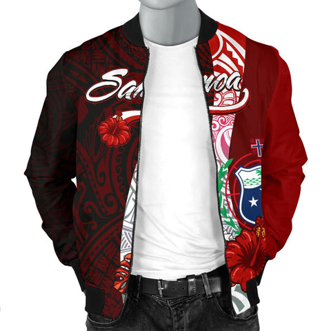 Image of Samoa Polynesian Men's Bomber Jacket - Coat Of Arm With Hibiscus - BN12