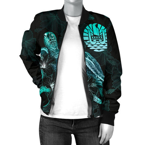 Image of Tahiti Polynesian Women's Bomber Jacket - Turtle With Blooming Hibiscus Turquoise