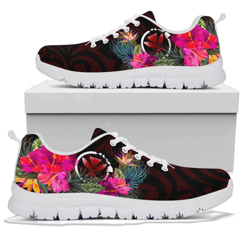 Hawaii Sneakers - Kanaka Maoli With Hibiscus On Polynesian Patterns (RED)