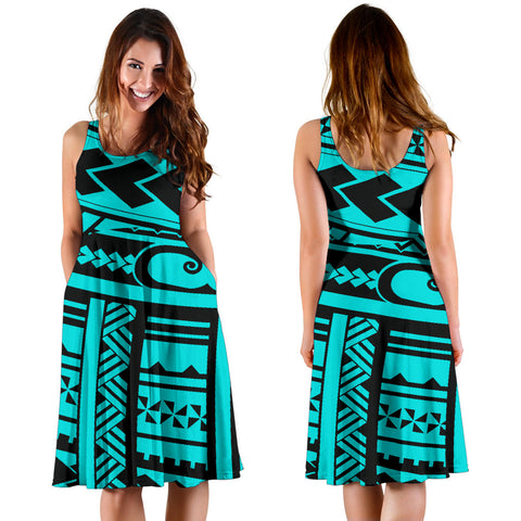 Polynesian Tribal Women's Dress - Blue Version - BN12
