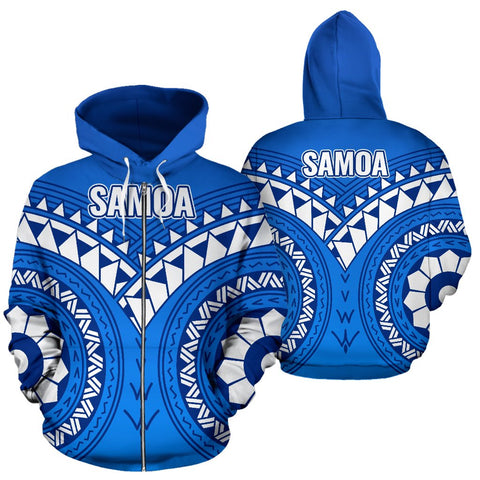 Image of Samoa Polynesian Tribal Pattern All Over Zip-Up Hoodie