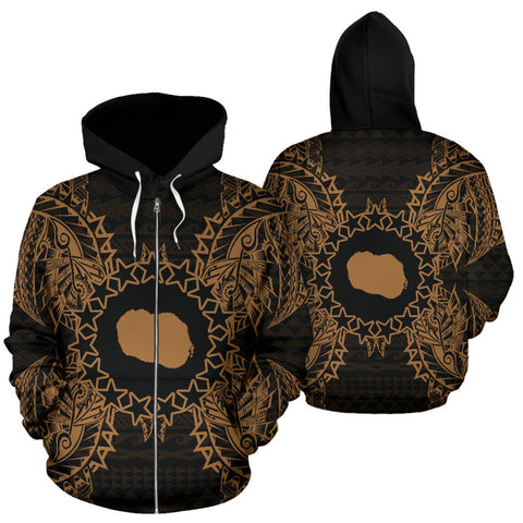 Cook Islands Polynesian All Over Zip Up Hoodie Map Gold - BN39