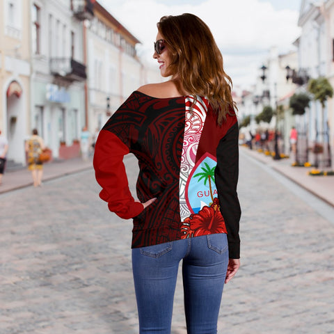 Image of Guam Polynesian Women's Off Shoulder Sweater - Coat Of Arm With Hibiscus - BN12