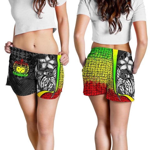 Samoa Polynesian Women's Shorts Reggae - Turtle With Hook