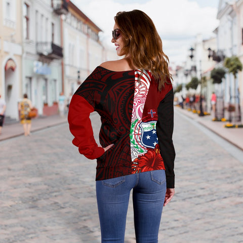 Image of Samoa Polynesian Custom Personalised Women's Off Shoulder Sweater - Coat Of Arm With Hibiscus - BN12