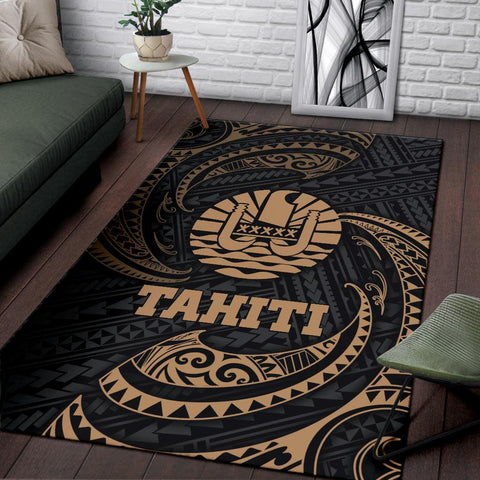 Tahiti Polynesian Area Rug - Gold Tribal Wave - BN12