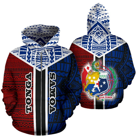 TokoUso All Over Zipper Hoodie - Tonga Samoa Coat Of Arms A7 1ST
