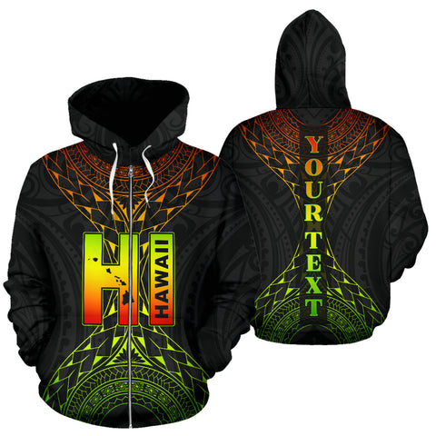 Image of Hawaii Map Polynesian All Over Zip-Up Hoodie - Custom Style