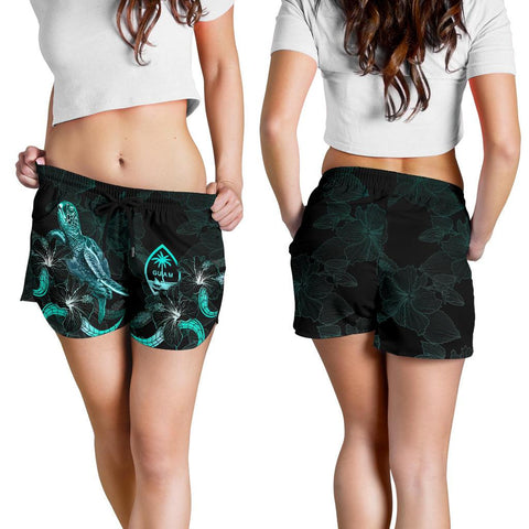 Image of Guam Polynesian Women's Shorts - Turtle With Blooming Hibiscus Turquoise