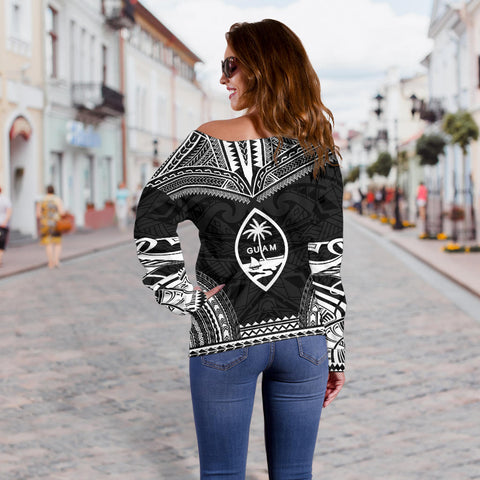 Guam Polynesian Chief Custom Personalised Women's Off Shoulder Sweater - Black Version - Bn10
