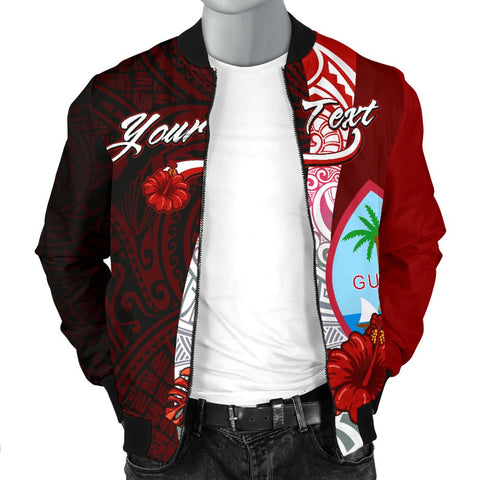 Guam Polynesian Custom Personalised Men's Bomber Jacket - Coat Of Arm With Hibiscus - BN12