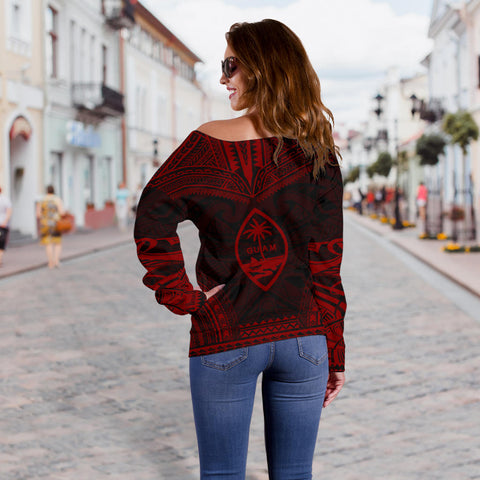 Guam Polynesian Chief Custom Personalised Women's Off Shoulder Sweater - Red Version - Bn10