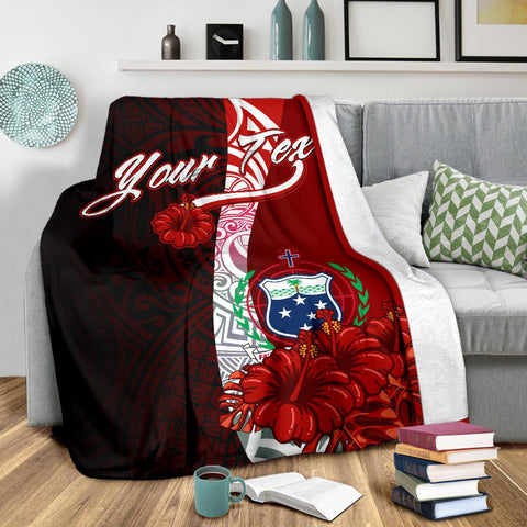 Samoa Polynesian Custom Personalised Premium Blanket - Coat Of Arm With Hibiscus - BN12