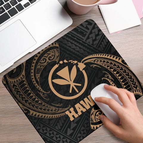 Hawaii Polynesian Mouse Pad - Gold Tribal Wave