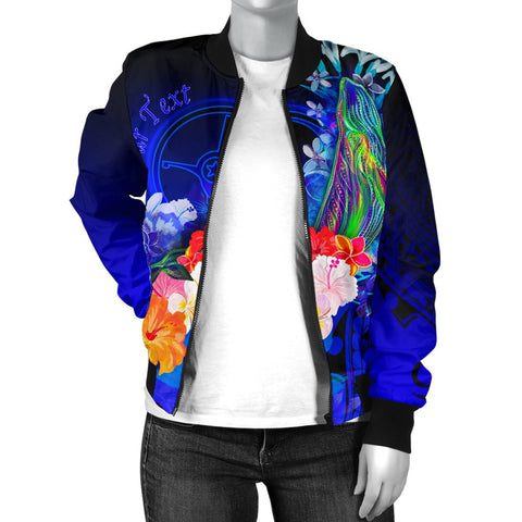 [Custom] Yap Women's Bomber Jacket - Humpback Whale with Tropical Flowers (Blue)