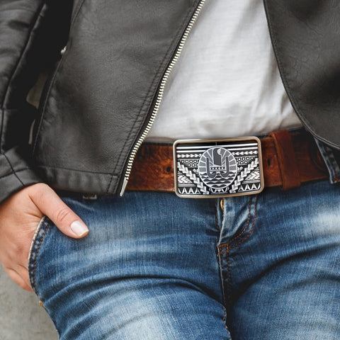 French Polynesia  Belt Buckle - Curve Style
