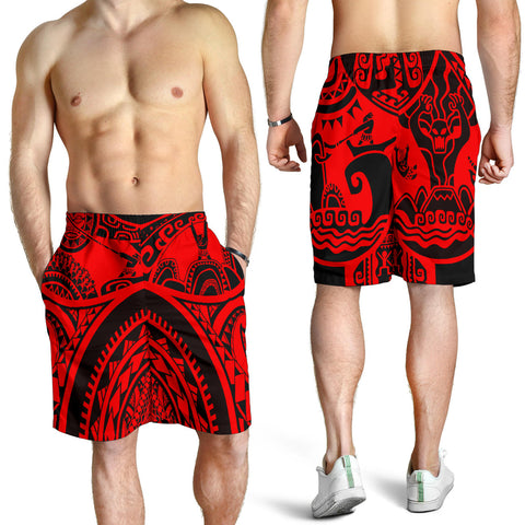 Polynesian Men's Shorts, Maui Tattoo Polynesian Patterns (Red) - BN17