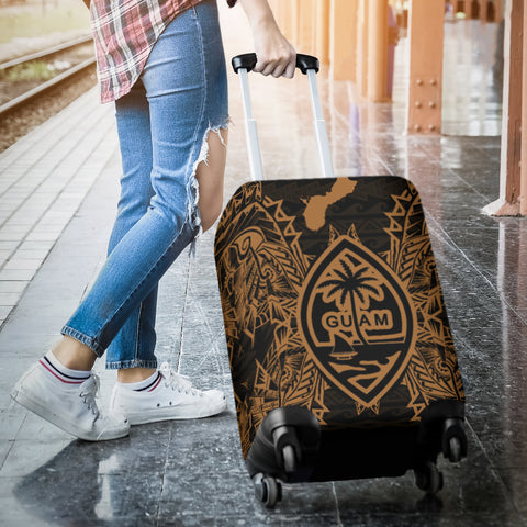 Guam Polynesian Luggage Covers Map Gold - BN39