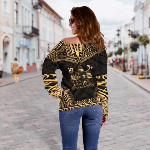 Fiji Polynesian Chief Custom Personalised Women's Off Shoulder Sweater - Gold Version - Bn10