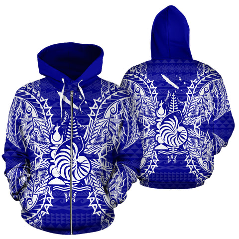 New Caledonia Polynesian All Over Zip Up Hoodie Map Blue - BN39