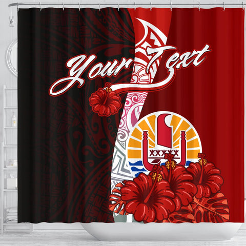 Tahiti Polynesian Custom Personalised Shower Curtain - Coat Of Arm With Hibiscus - BN12
