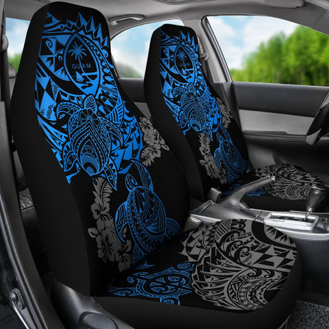 Guam Car Seat Covers - Blue Turtle Flowing