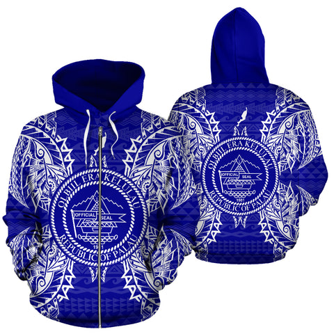 Palau Polynesian All Over Zip Up Hoodie Map Blue - BN39