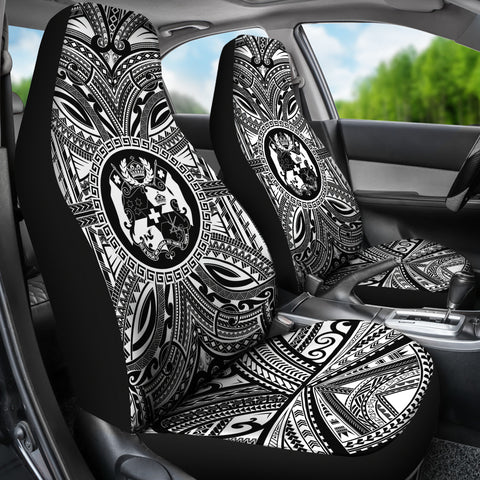 Tonga Car Seat Cover - Tonga Coat Of Arms Polynesian White Black Bn10