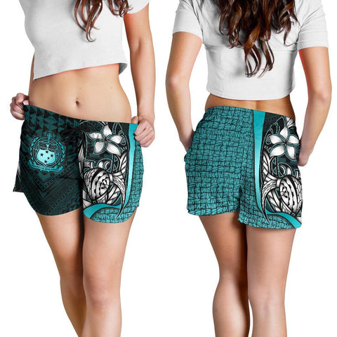 Samoa Polynesian Women's Shorts Turquoise - Turtle With Hook