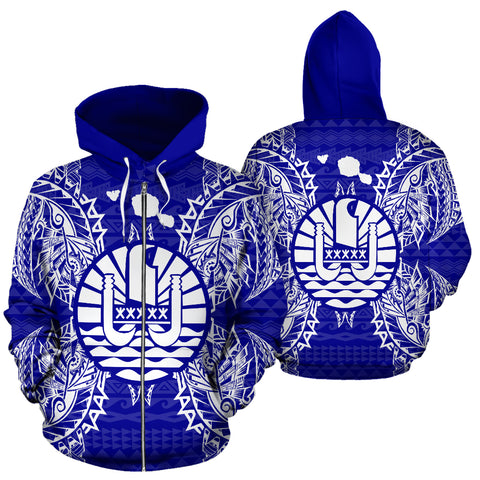 Image of French Polynesia Polynesian All Over Zip Up Hoodie Map Blue - BN39