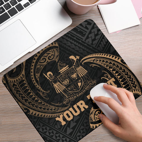 Fiji Polynesian Custom Personalised Mouse Pad - Gold Tribal Wave - BN12