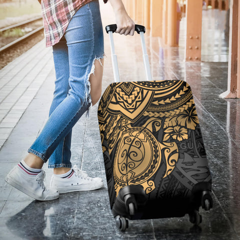 Guam Polynesian Luggage Cover - Golden Turtle