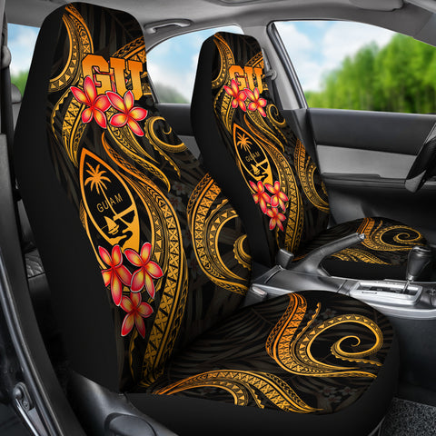 Guam Polynesian Car Seat Covers - Gold Plumeria