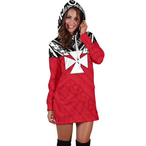 Image of Wallis And Futuna Women's Hoodie Dress - Polynesian Design Model Front