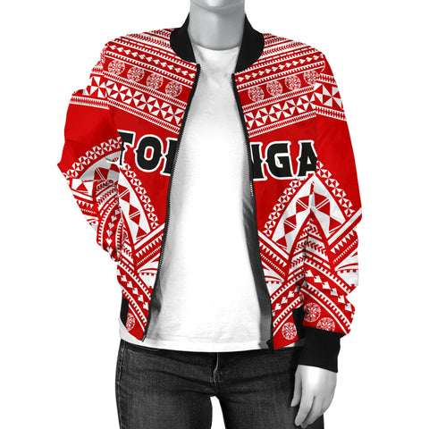 Tonga Polynesian Tribal Pattern Women's Bomber Jacket - BN12