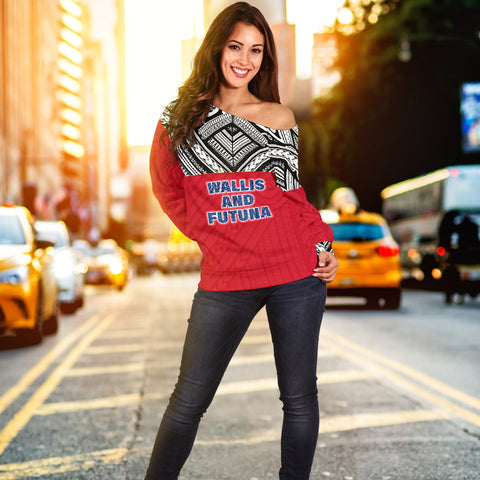 Image of Wallis And Futuna Women's Off Shoulder Sweater - Polynesian Design Model