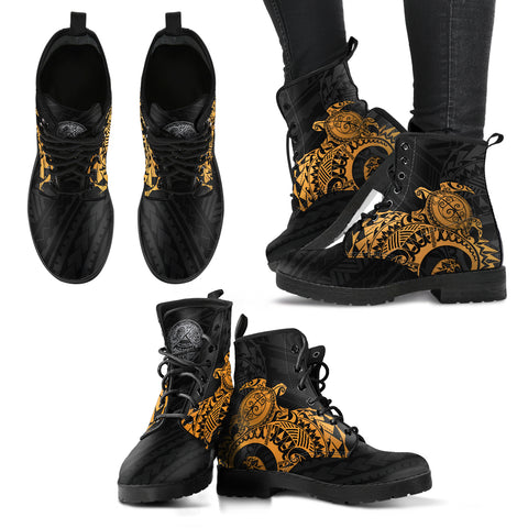 American Samoa Polynesian Leather Boots - Polynesian Turtle (Golden)