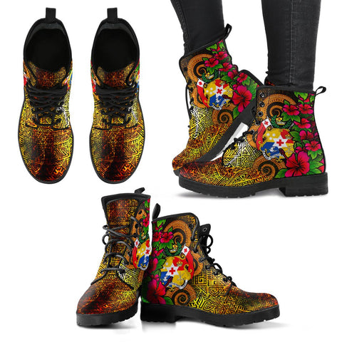 Image of Tonga Polynesian Leather Boots - Hibiscus Vintage - BN12