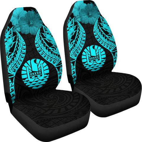 Image of Tahiti Polynesian Car Seat Covers Pride Seal And Hibiscus Neon Blue - BN39