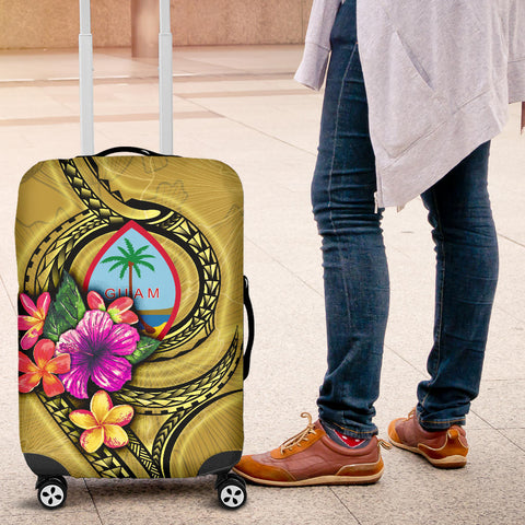 Guam Polynesian Luggage Covers - Floral With Seal Gold - BN12