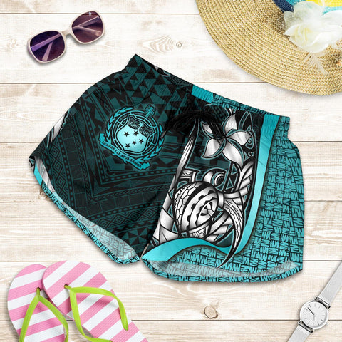 Samoa Polynesian Women's Shorts Turquoise - Turtle With Hook - BN11