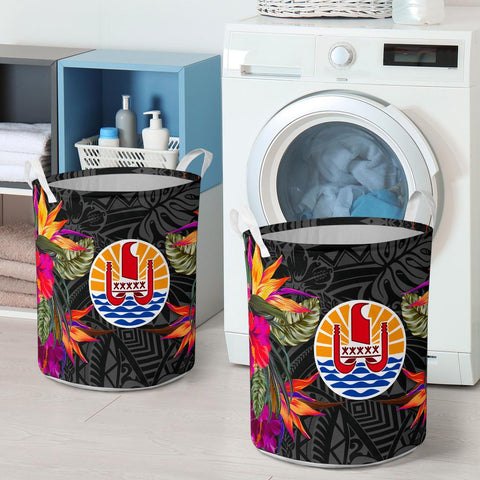 Image of French Polynesia Laundry Basket Hibiscus Polynesian Pattern - BN39