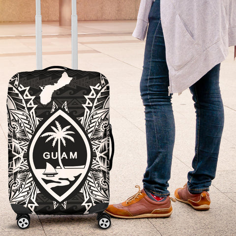 Guam Polynesian Luggage Covers Map Black - BN39