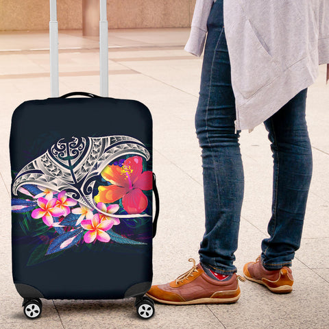 Polynesian Luggage Covers - Manta Ray And Hibiscus - BN12