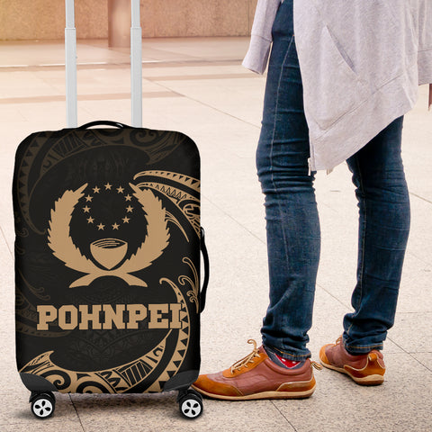 Pohnpei Micronesia Luggage Covvers - Gold Tribal Wave - BN12