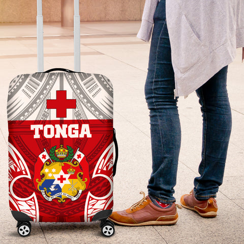 Tonga Polynesian Luggage Covers - Pattern With Seal Red Version - BN12