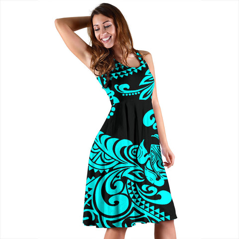 Polynesian Midi Dress - Black Turtle Cyan - BN11